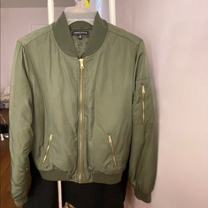 Kendall & Kylie Army Green Puff Bomber Jacket